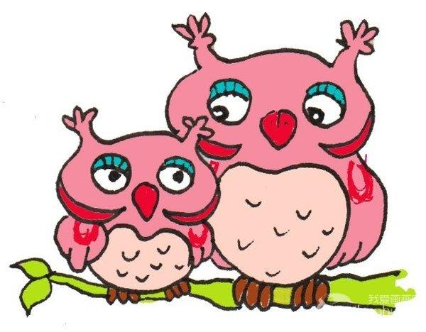 卡通画:猫头鹰妈妈和宝宝的绘画步骤(4)_儿童画教程
