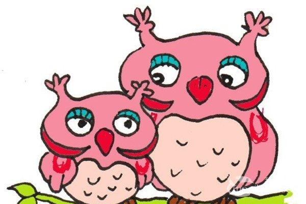 卡通画:猫头鹰妈妈和宝宝的绘画步骤