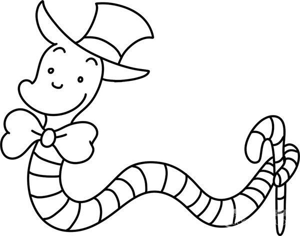趣味简笔画:蚯蚓绅士绘画步骤(4)_儿童画教程_学画画