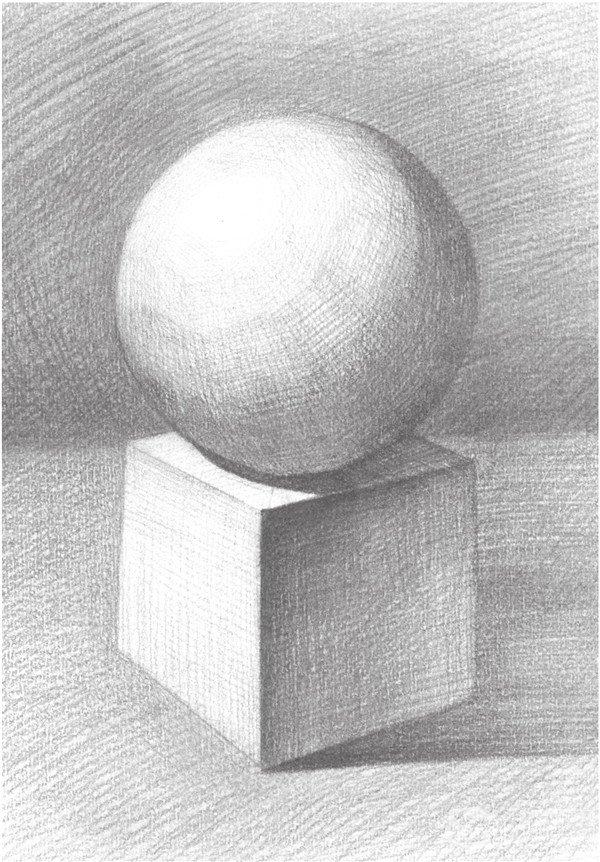 素描石膏绘画组合:球体和正方体绘画技巧