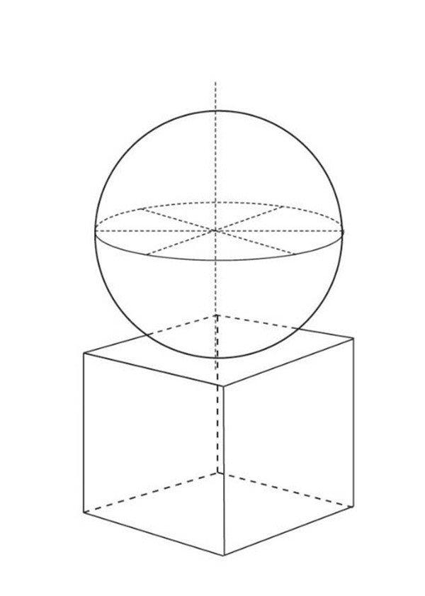 素描石膏 球体正方体组合 结构