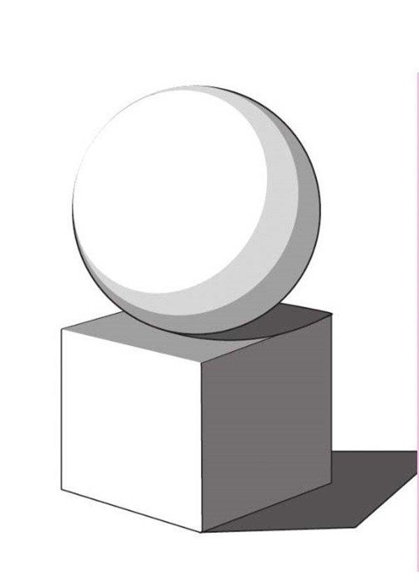 素描石膏 球体正方体组合 透视