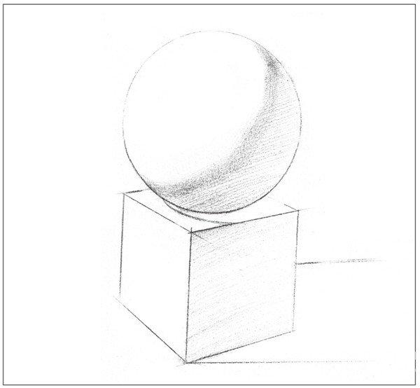 素描石膏绘画组合 球体和正方体绘画技巧 2图片
