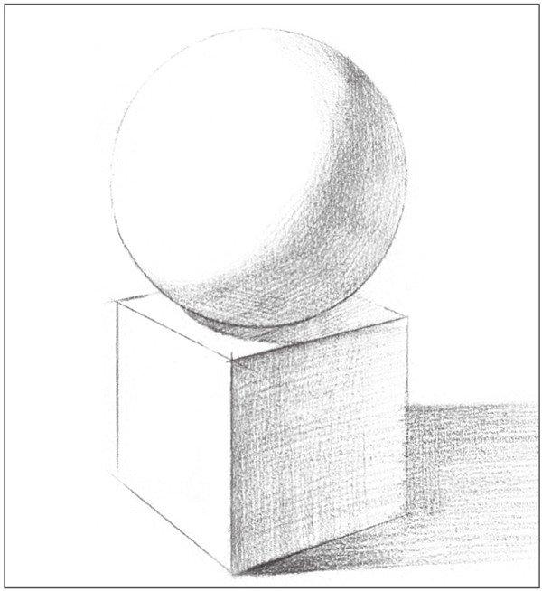 素描石膏绘画组合:球体和正方体绘画技巧(3)