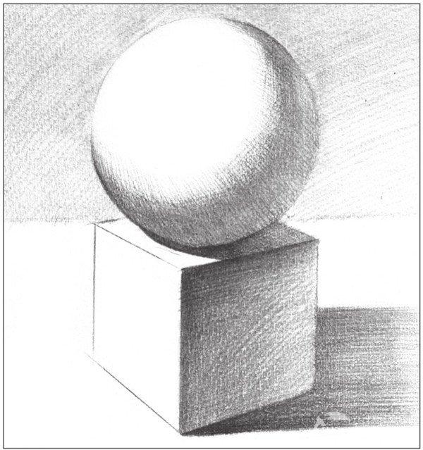 素描石膏绘画组合:球体和正方体绘画技巧(4)
