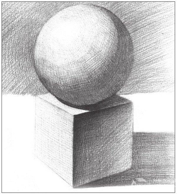 素描石膏绘画组合 球体和正方体绘画技巧 5图片