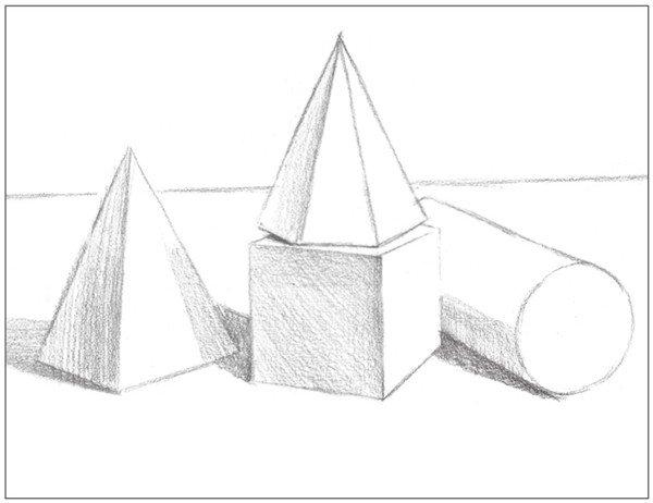 5、画出各个物体的暗部调子及物体的投影。注意排线方向。  素描石膏绘画步骤5 6、画出画面背景的整体调子,以较密的排线方式进行绘画。  素描石膏绘画步骤6