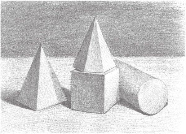 素描石膏组合 圆柱体 正方体 六棱锥 四棱锥绘画步骤图片