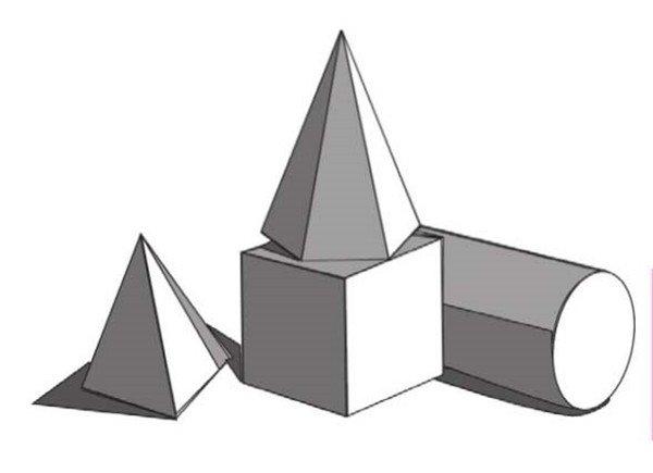 圆柱体,正方体,六棱锥,四棱锥绘画步骤      1,打形要准确,注意透视