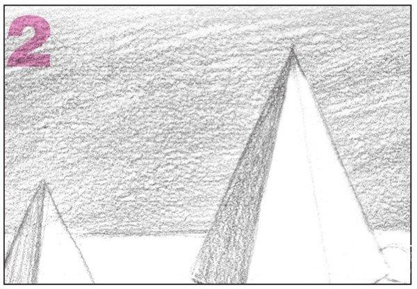 素描石膏组合:圆柱体,正方体,六棱锥,四棱锥绘画步骤