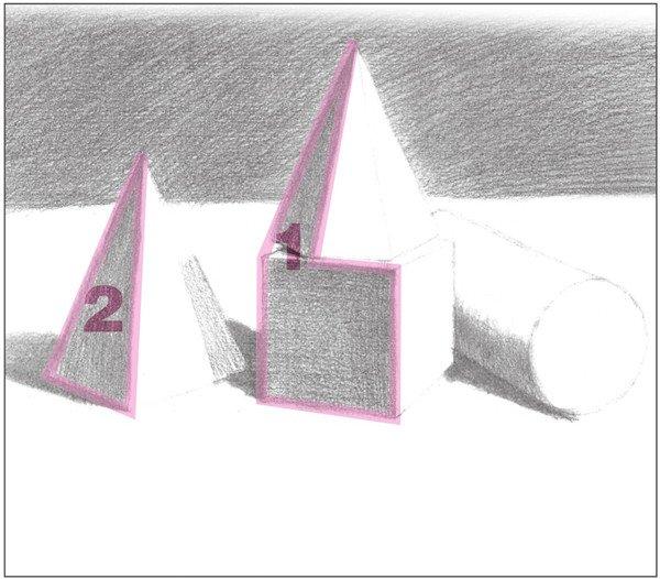 素描石膏组合 圆柱体 正方体 六棱锥 四棱锥绘画步骤 7图片