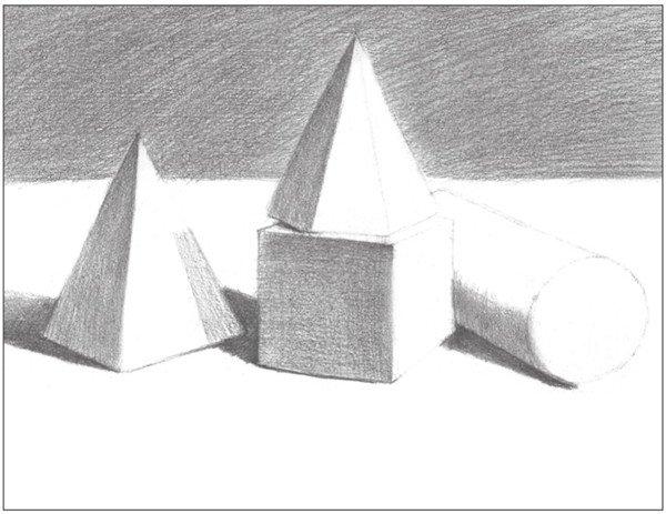 素描石膏组合 圆柱体 正方体 六棱锥 四棱锥绘画步骤 8图片
