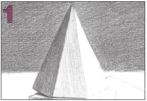 14、使用4B铅笔,加强各个物体投影的调子,增加物体的体积感。  素描石膏绘画步骤14 15、然后,对整个画面的调子进行统一的排线处理。  素描石膏绘画步骤15 16、画出四棱锥与圆柱体的灰面调子,注意层次的表现。  素描石膏绘画步骤16 使用2B铅笔,画出四棱锥的灰面调子,注意物体的形体结构。  素描石膏绘画步骤16-1 用同样的方法画出圆柱体的灰面调子,注意物体的形体结构。  素描石膏绘画步骤16-2