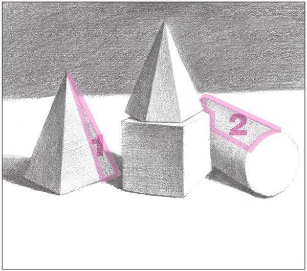 17、使用2B铅笔,对物体的灰面进一步细画,拉开与暗部的对比。  素描石膏绘画步骤17 18、使用4B铅笔,画出圆柱体的整体色调,注意物体的形体结构。  素描石膏绘画步骤18 19、对画面中左右两边物体的灰面进行绘画,注意画面的层次变化。  素描石膏绘画步骤19 使用2B铅笔,以较密的排线,画出画面左侧四棱锥的灰面调子。  素描石膏绘画步骤19-1 对画面右侧圆柱体的灰面调子加深刻画。  素描石膏绘画步骤19-2 20、使用2B铅笔,画出圆柱体前端圆面的整体色调,注意物体的形体结构。  素描石膏绘画步骤2