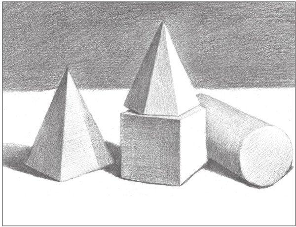20,使用2b铅笔,画出圆柱体前端圆面的整体色调,注意物体的形体结构