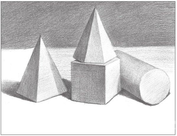 素描石膏组合 圆柱体 正方体 六棱锥 四棱锥绘画步骤 11图片