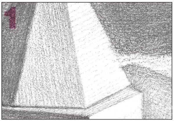 素描石膏组合 圆柱体 正方体 六棱锥 四棱锥绘画步骤 12图片