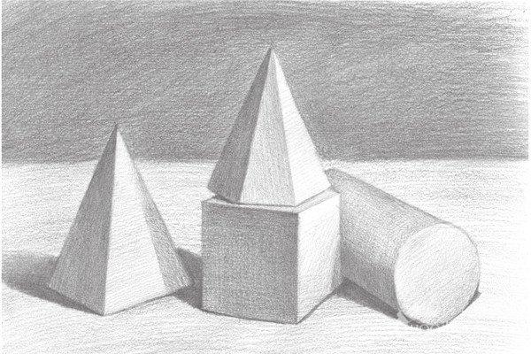 素描石膏组合:圆柱体、正方体、六棱锥、四棱锥绘画步骤