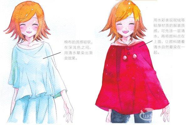 水彩:服装的质感的表现绘画步骤