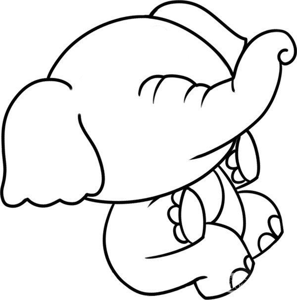 趣味简笔画:坐在树桩上的小象绘画步骤(3)