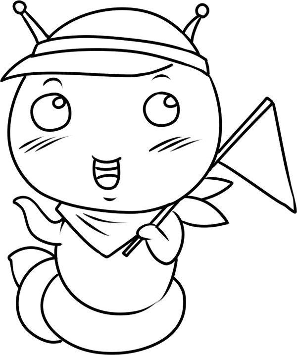 趣味简笔画 举小旗的蚕宝宝绘画步骤 4