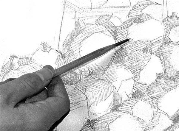 素描技巧:水果摊一角绘画步骤(2)