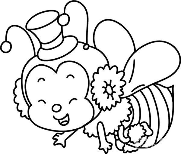 趣味简笔画:辛劳采蜜的小蜜蜂绘画步骤(4)图片