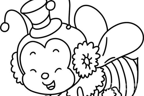 趣味简笔画:辛劳采蜜的小蜜蜂绘画步骤