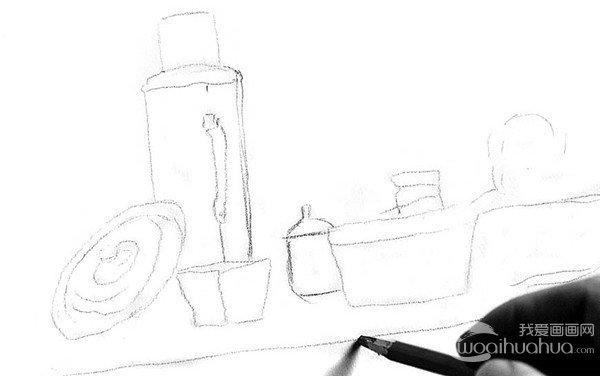 素描:厨房一角的绘画步骤_素描教程_学画画_我爱画画网