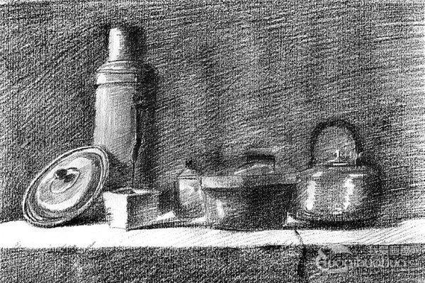 素描:厨房一角的绘画步骤
