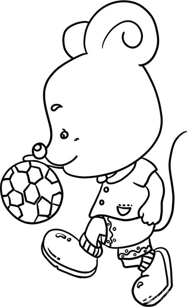 趣味简笔画:踢足球的小老鼠绘画步骤(4)