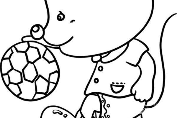 趣味简笔画:踢足球的小老鼠绘画步骤