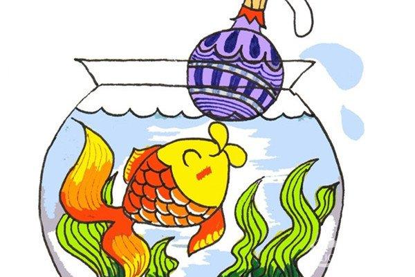 卡通画:小金鱼的绘画步骤