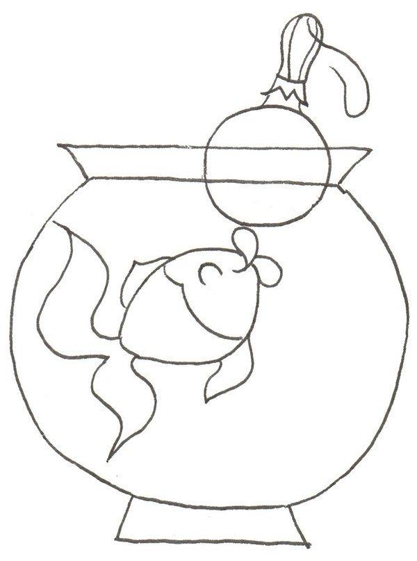 卡通画:小金鱼的绘画步骤_儿童画教程_学画画_我爱