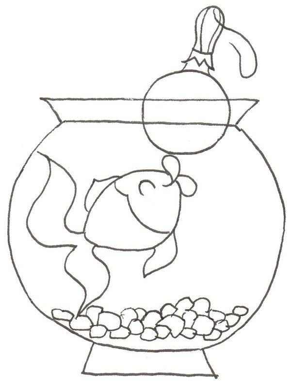 金鱼的绘画步骤六                      ④在鱼缸底画一些小的碎石头