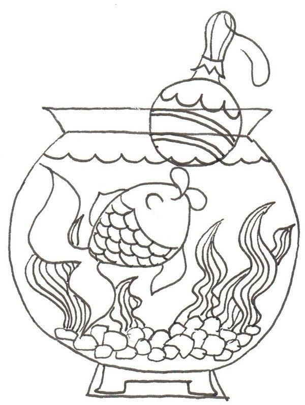 卡通画:小金鱼的绘画步骤(2)