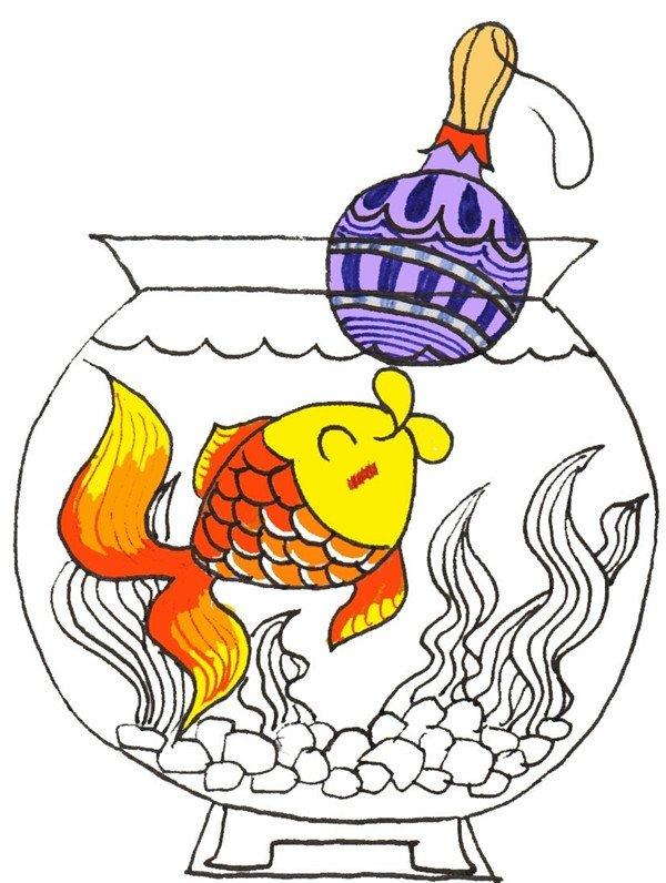 卡通画:小金鱼的绘画步骤(3)_儿童画教程_学画画_我爱