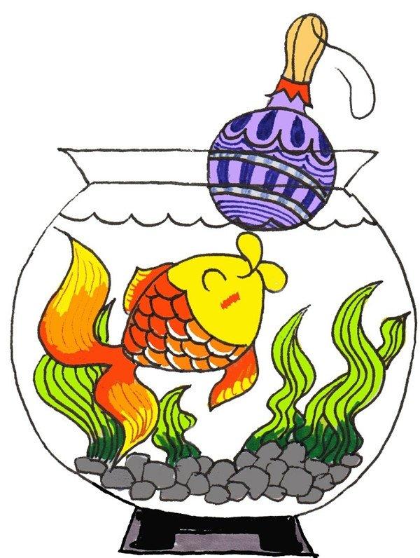 给金鱼涂上黄色、橘黄色和橘红色。  卡通画小金鱼的绘画步骤七 将玩具球涂上紫色,再画一些图案。  卡通画小金鱼的绘画步骤八 将小石头涂上灰色,将水草涂上绿色。  卡通画小金鱼的绘画步骤九 将水上色,加投影,完成。  卡通画小金鱼的绘画步骤十 PS:爱鱼人士们,你们都懂得怎样养金鱼吗? 1.