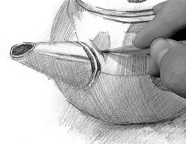 素描电水壶的绘画步骤17