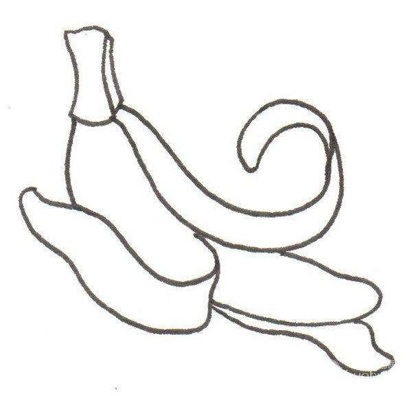 卡通画香蕉的绘画步骤四                      ④再画出果实后面的皮