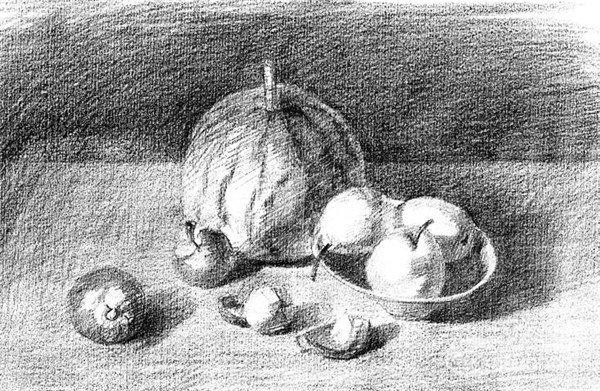 素描:水果的绘制步骤    1,用4b铅笔将餐桌上各类水果的基本造型