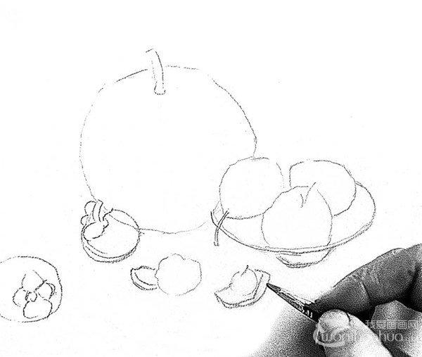 素描餐桌上的果盘的绘画步骤