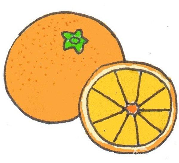 卡通画:橙子的绘画步骤(4)_儿童画教程_学画画_我爱