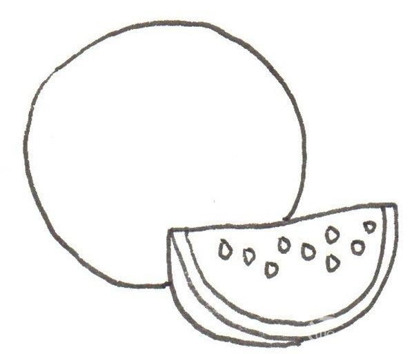 卡通画:西瓜的绘画绘画步骤(3)