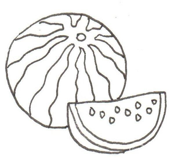 卡通画:西瓜的绘画绘画步骤(4)