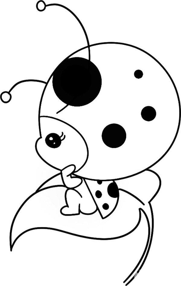 趣味简笔画:沉思的瓢虫绘画步骤四