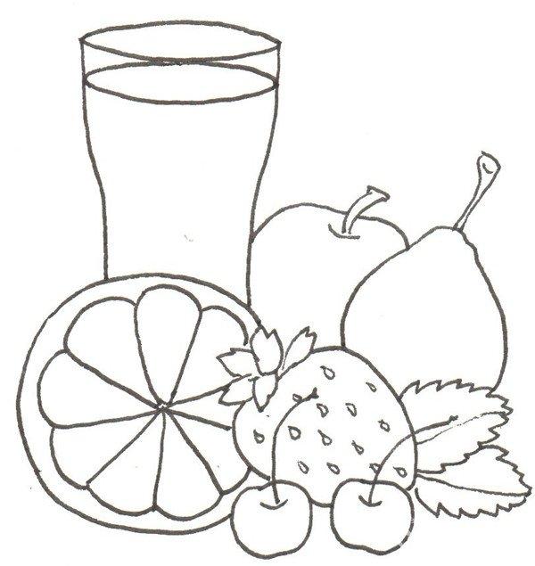 卡通画水果大杂烩的绘画步骤四 ⑤在杯子右边画一个苹果和一个梨.