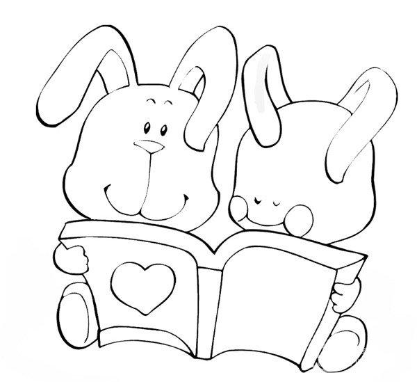趣味简笔画 看书的小兔 4