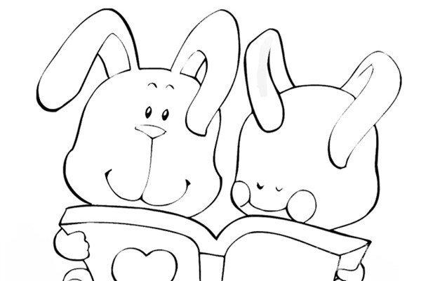 趣味简笔画:看书的小兔