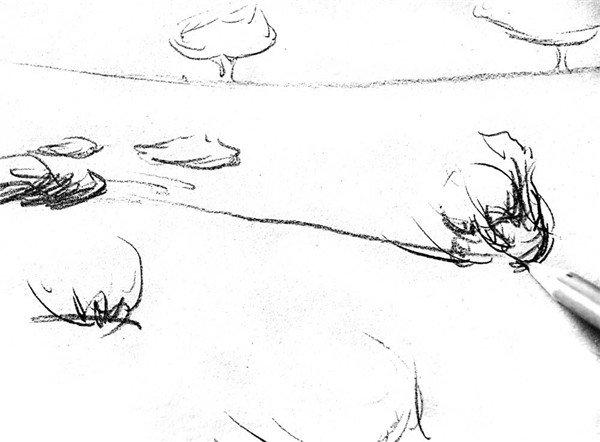 4、骆驼与外部环境的整体轮廓效果。  素描骆驼的绘画步骤4 5、换用4B铅笔,在骆驼的外轮廓基础上描绘一下结构部分。  素描骆驼的绘画步骤5 6、先从骆驼的大腿部位开始整理结构,可以用曲线勾勒腿部肌肉造型。  素描骆驼的绘画步骤6 7、依次类推,紧紧扣住骆驼的基本结构,勾勒各部位的肌肉骨骼造型。  素描骆驼的绘画步骤7 8、按照骆驼结构的勾画方法,描绘出近处的杂草、远处树木的基本造型。  素描骆驼的绘画步骤8